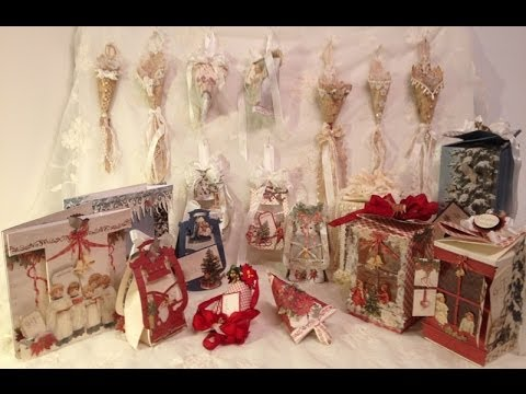 Christmas ornaments,gift boxes, cards, tussy mussy and more – Tutorial