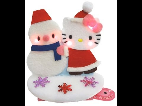 Hello Kitty & Snowman Lights & Melody Pop Up Christmas Greeting Card