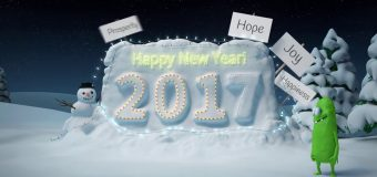 New Year greeting card logo reveal intro funny minior snowman fireworks christmas v1 color2