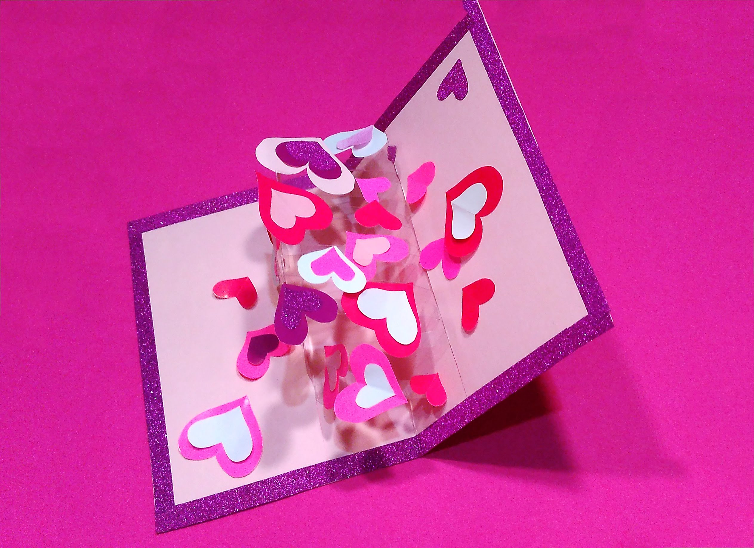 valentine's greeting card with hearts (transparent acetate). diy pop