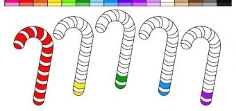 Learn Colors for Kids and Color Christmas Candy Cane Coloring Pages