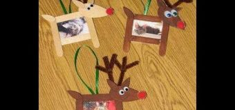 How To Make Reindeer Cork Picture Frame Using Popsicle Stick – Christmas Crafts For Kids