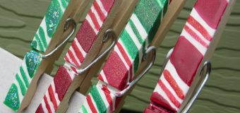 Crafting with Nail Polish- Holiday Candy Cane Clothes Pins