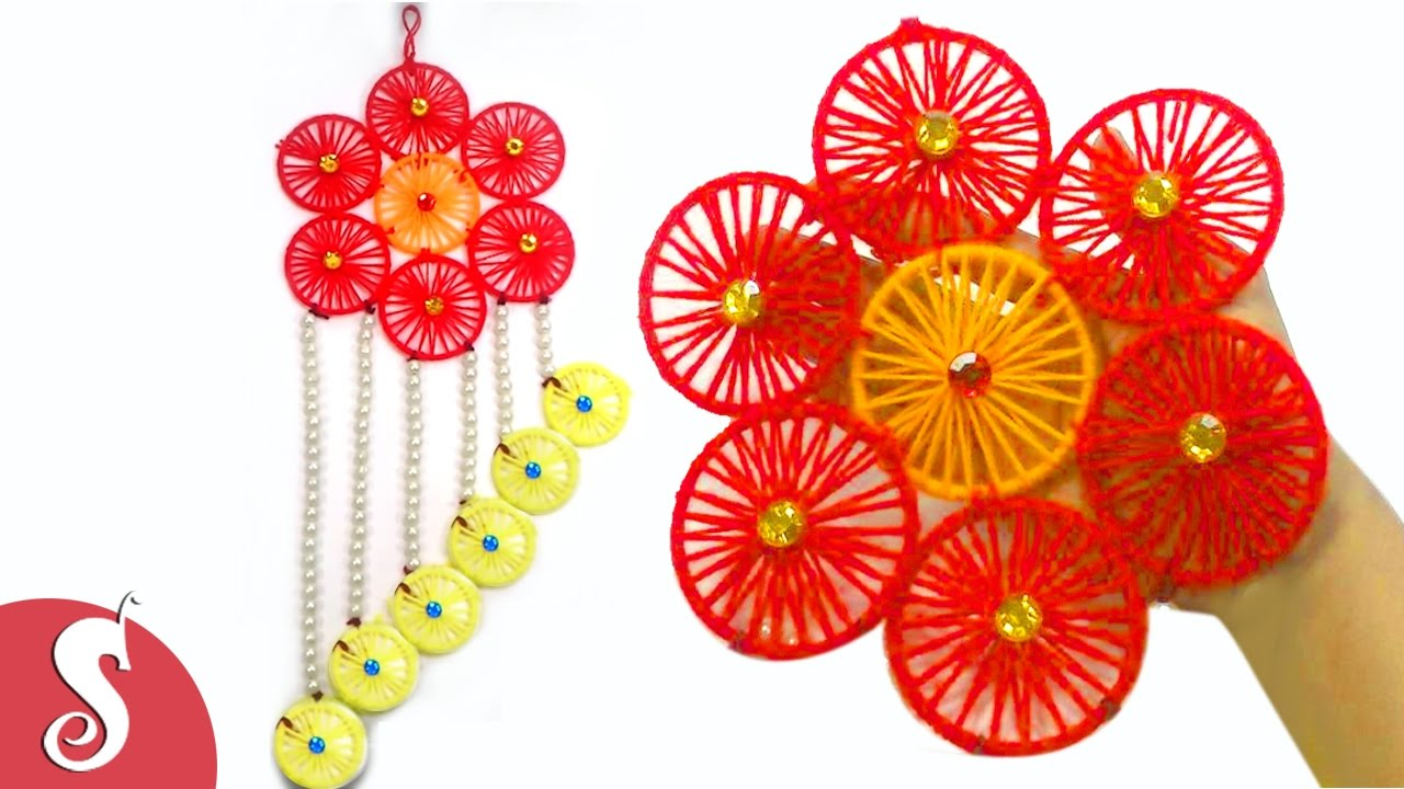Wall Decoration Using Bangles : Diy woolen wall hanging from wastage bangles for home