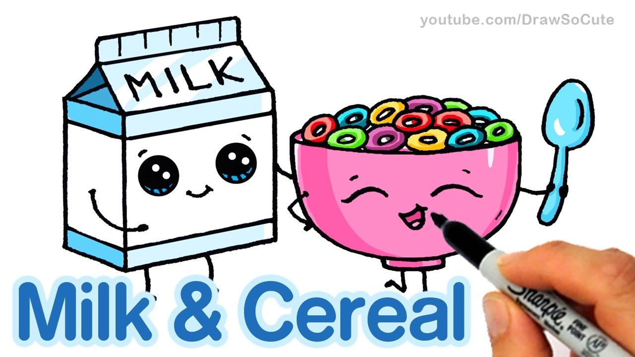 How To Draw Milk And Cereal Step By Step Cute And Easy