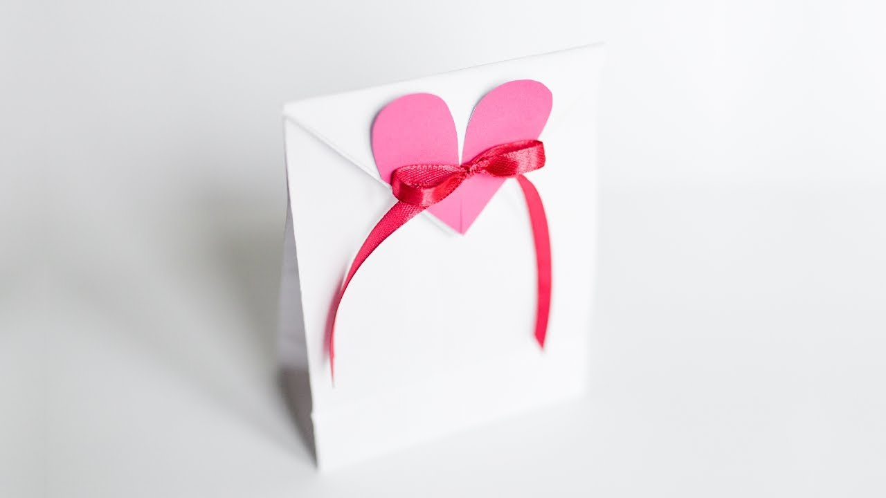 How to Make - Paper Bag With Heart Gift Wrap - Step by ...