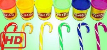 PLAY DOH Rainbow Candy Canes Fun & Easy DIY Christmas Holiday Play Dough Art! part 2