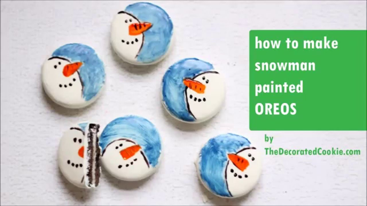 Diy painted snowman oreos christmas holiday winter gift for How to paint snowmen