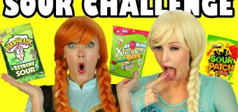 Frozen Elsa vs Anna Sour Challenge Sour Candy and Food. DisneyToysFan