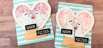 Papercakes Snow Day Valentines Day Shaker Cards with process