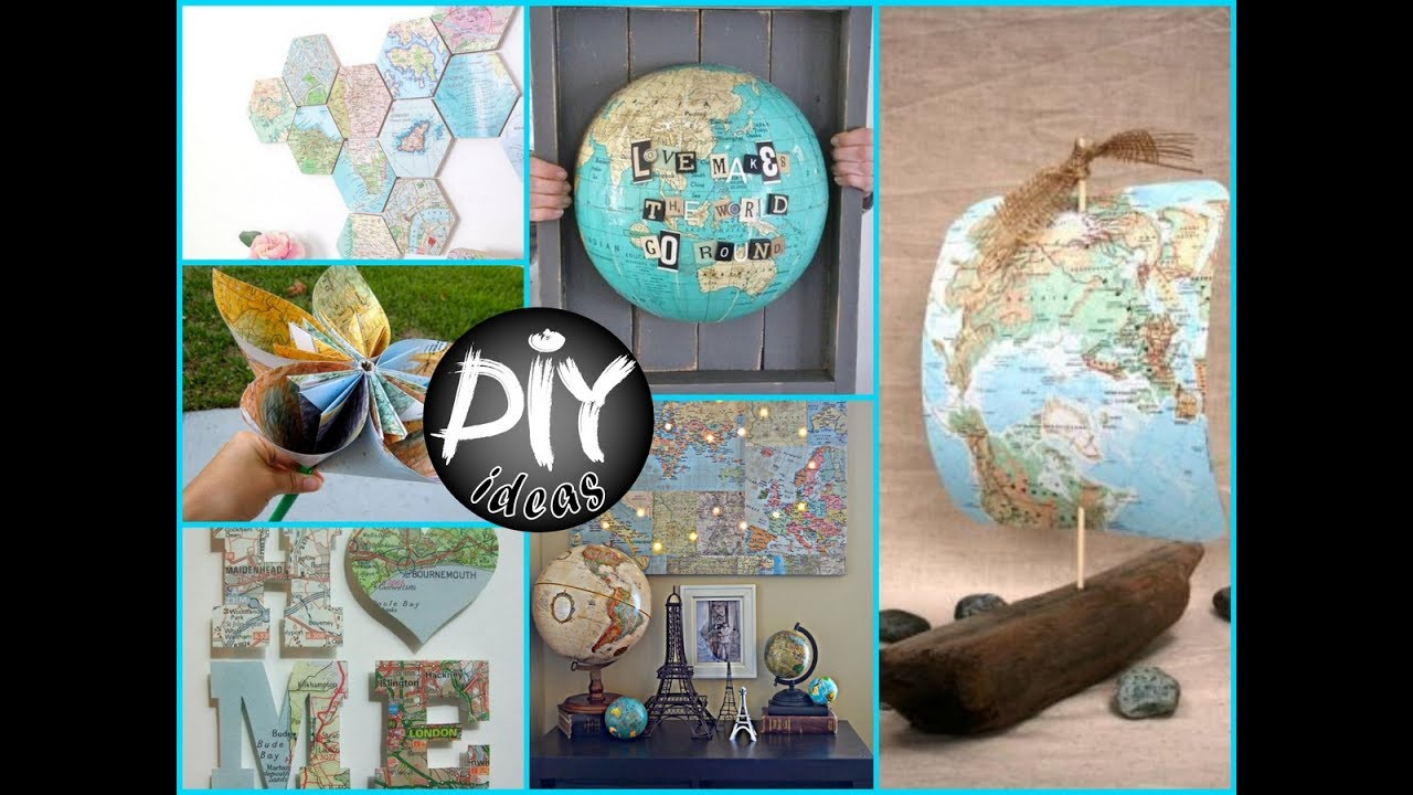 50 diy recycled crafts ideas using old maps recycled for Diy recycle ideas