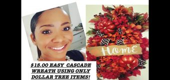 $15.00 EASY CASCADE WREATH USING DOLLAR TREE ITEMS!
