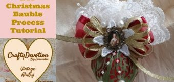 Diy 5 minute fabric Crafts, Christmas Bauble, Shabby Chic Fabric Crafts, Christmas Ornament, Decor