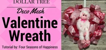 Dollar Tree Valentines Wreath, deco mesh heart wreath, dollar tree heart wreath