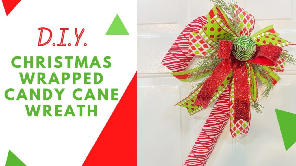 How To Make A Christmas Wrapped Candy Cane Wreath Quick And Easy Tutorial Everything 4 Christmas